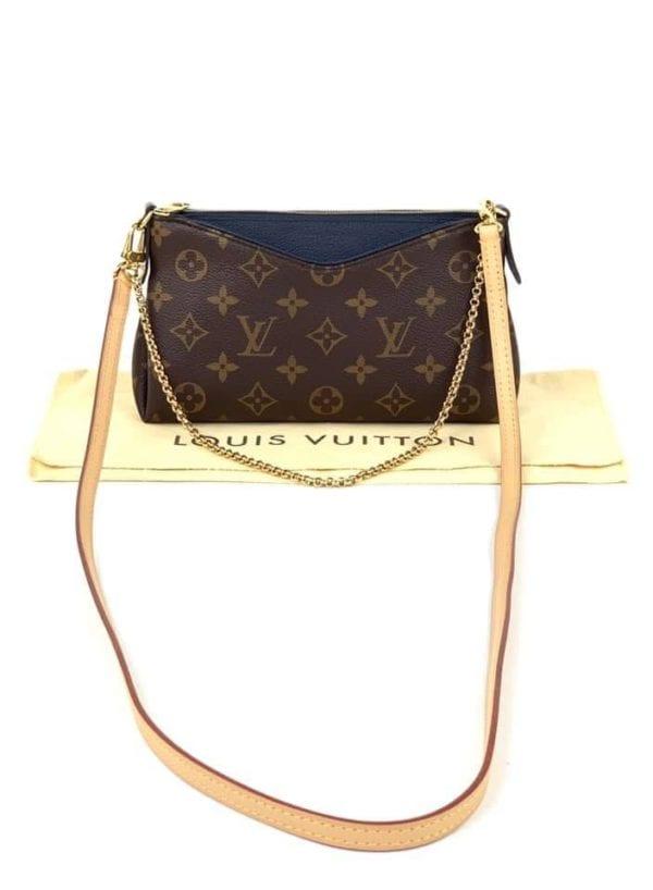 Louis Vuitton Monogram Pallas Clutch Crossbody with Navy Trim