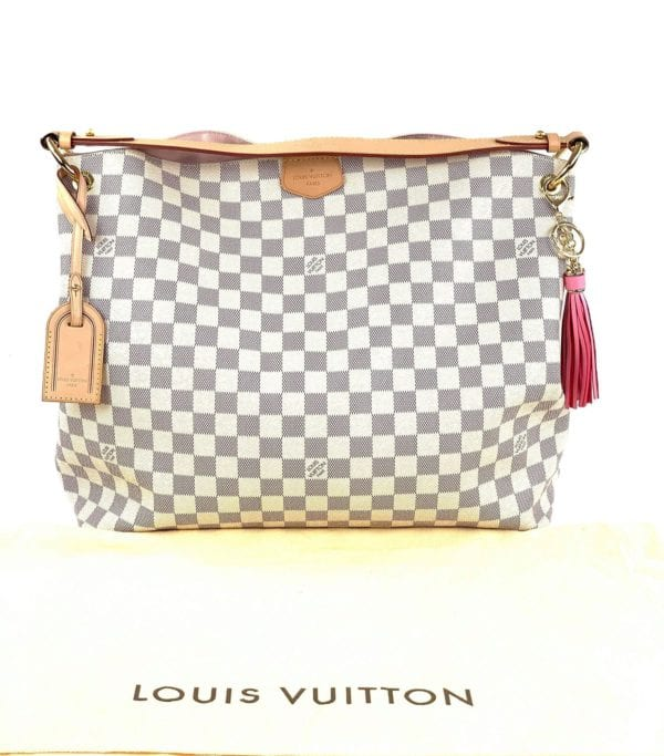 Louis Vuitton Damier Azur Graceful MM with Rose Ballerine Interior