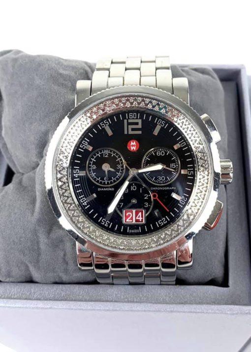 Michele Sport Sail Diamond Stainless Steel Watch 42mm