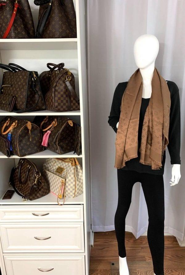 Louis Vuitton Monogram Shine Shawl Brown