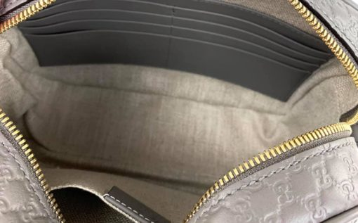Gucci Messenger Bree Micro GG Guccissima Graphite Leather Crossbody