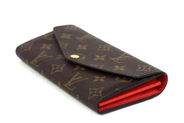 Louis Vuitton Monogram Sarah Wallet with Red Interior