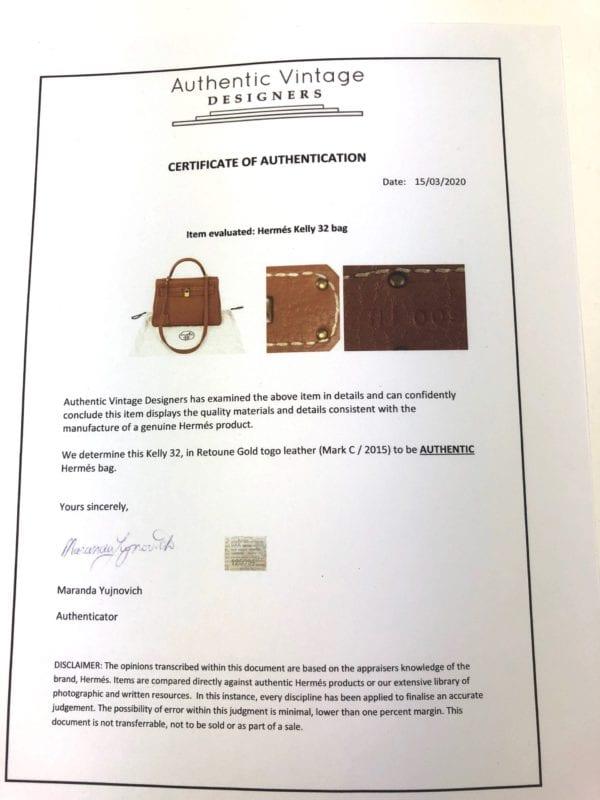 Hermès Kelly 32 TOGO Retourne Gold