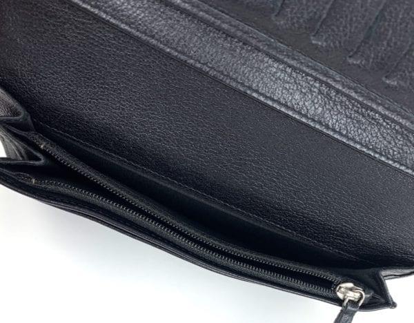 Chanel Goatskin Camellia Embossed Yen Wallet