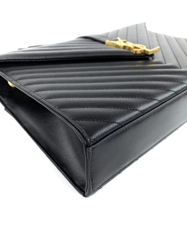 YSL Grain De Poudre Matelasse Chevron Large Monogram Satchel Black