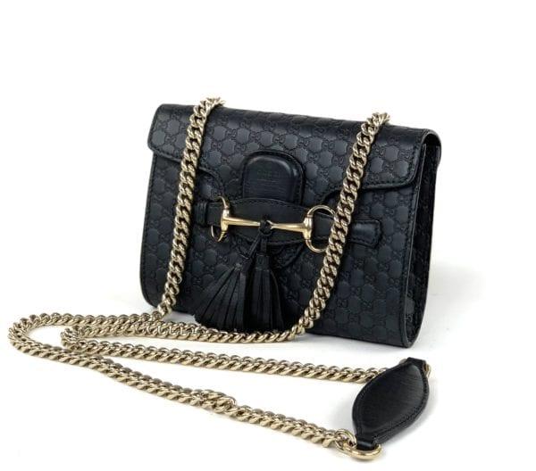 Gucci Microguccissima Mini Emily Shoulder Bag Black