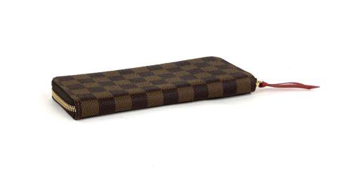 Louis Vuitton Damier Ebene Clemence Wallet Red Interior