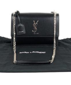 YSL Medium Sunset Bag in Smooth Leather Black