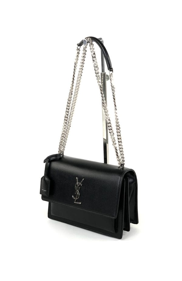 YSL Medium Sunset Bag in Smooth Leather Black