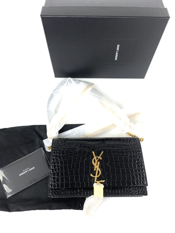 YSL Kate Tassel-Embellished Croc-Embossed Leather Wallet-On-Chain