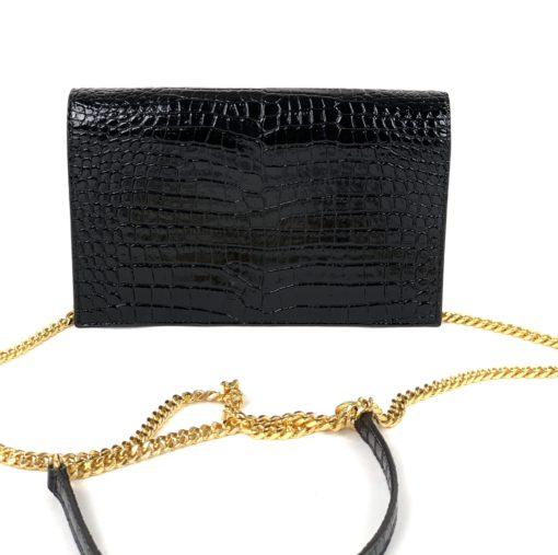 YSL Kate Tassel-Embellished Croc-Embossed Leather Wallet-On-Chain