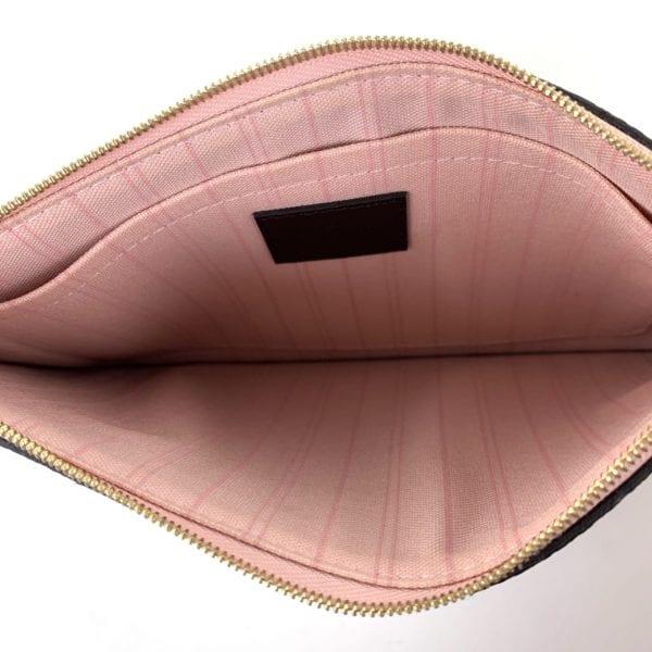 Louis Vuitton Damier Ebene Neverfull Pochette Rose Ballerine