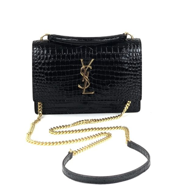YSL Sunset Crocodile-Embossed Mini Bag