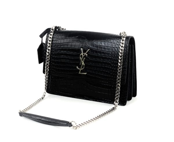 YSL Medium Sunset Bag in Black Crocodile-Embossed Leather