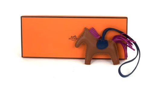 Hermès Brown Pain D'epice/Rose Poupre/Blue de Malte Horse Rodeo Bag Charm