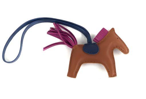 Hermes Brown Pain D'epice/Rose Poupre/Blue de Malte Horse Rodeo Bag Charm
