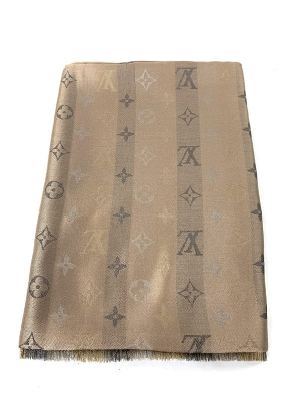 Louis Vuitton So Shine Monogram Shawl Beige