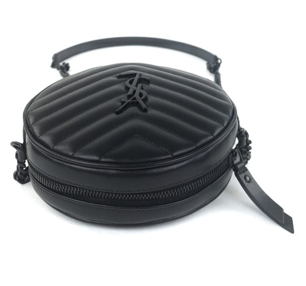 YSL Jade Round Quilted Grain de Poudre Crossbody Bag