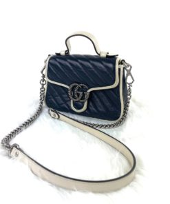 Gucci GG Marmont Mini Top Handle Bag Blue/Silver
