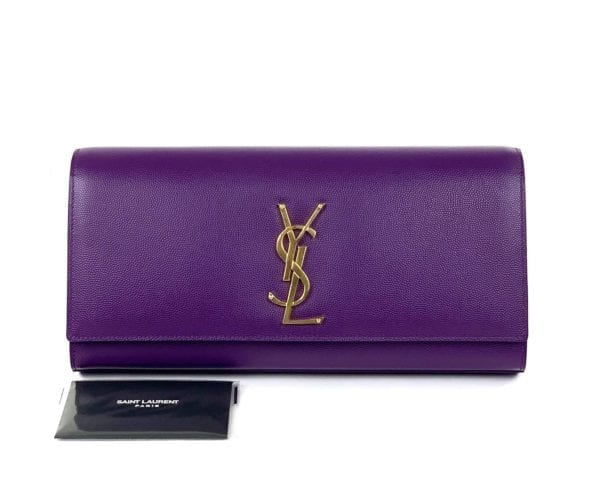 YSL Monogram Purple Leather Clutch