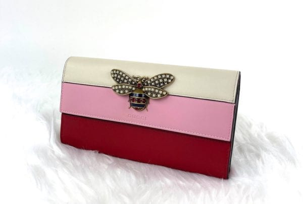 Gucci Pink Queen Margaret Continental Red White Wallet