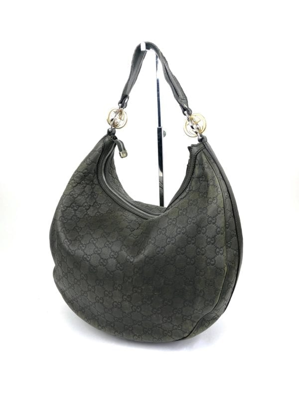 Gucci Guccissima Large GG Twins Hobo Olive Green