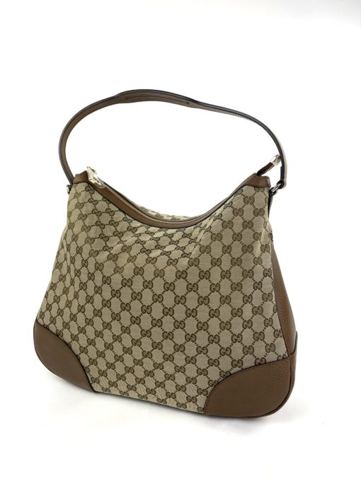 Gucci Original GG Large Bree Canvas Leather Hobo Beige/Brown
