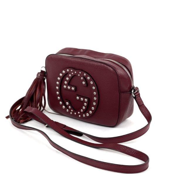 Gucci Soho Disco Maroon Leather Studded Crossbody Bag
