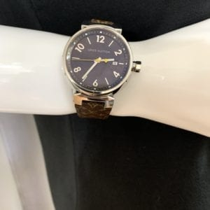 Louis Vuitton Stainless Steel Calfskin 39.5mm Tambour Quartz Watch