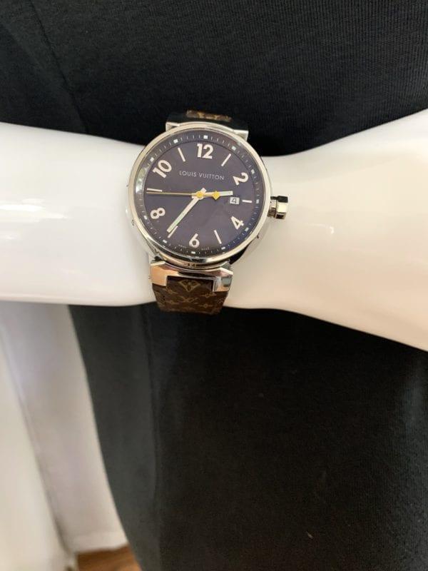 Louis Vuitton Stainless Steel Calfskin 39.5mm Tambour Quartz Watch
