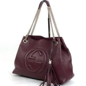 Gucci Soho Medium Leather Shoulder Bag Wine