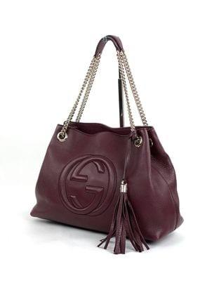 Gucci Soho Medium Leather Shoulder Bag Wine