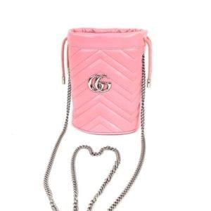 Gucci Matelasse Mini GG Marmont 2.0 Bucket Bag Pastel Pink