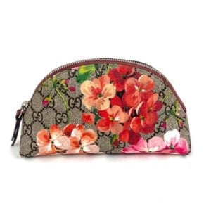 Gucci Beige Pink Floral Supreme GG Blooms Cosmetic Pouch