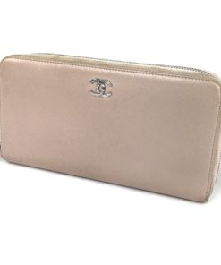 Chanel Vintage Light Pink Zip Around Wallet