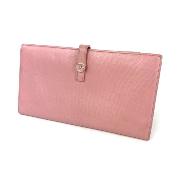 Chanel Vintage Classic CC Logo Leather Wallet Pink