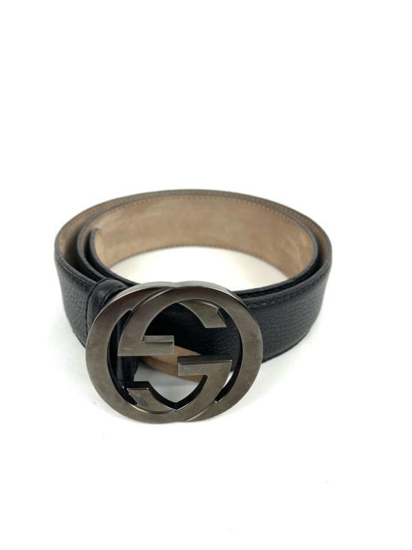 Gucci Black Grain Leather Signature GG Belt- Size 85/34