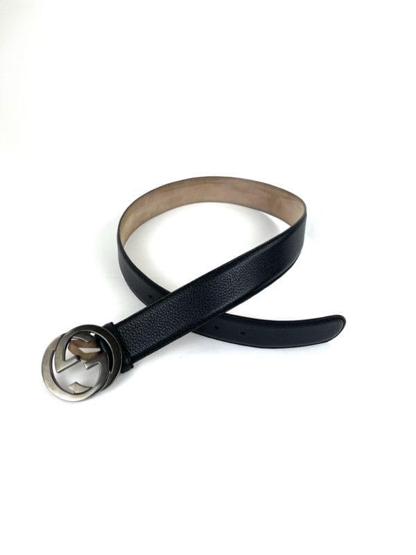 Gucci Black Grain Leather Signature GG Belt