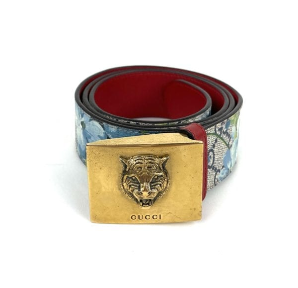 Gucci Blooms Print Coated Canvas Belt