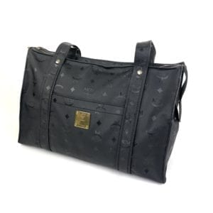 MCM Black Monogram Visetos Zip Tote 872752
