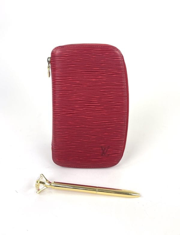 Louis Vuitton Red Epi Geode Organizer Zippy Wallet