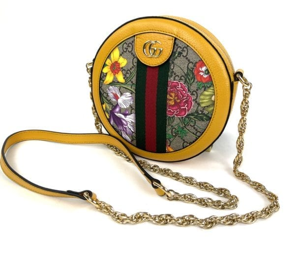 Gucci Mini Ophidia Flora Round Shoulder Bag