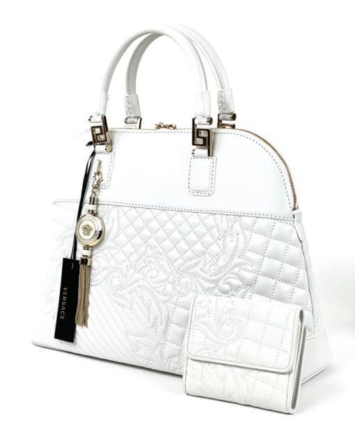 Versace White Nappa Leather Athena Barocco Quilted Vanitas Bag, Wallet & Long Strap Set