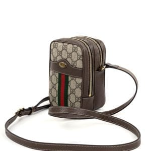 Gucci GG Supreme Monogram Web Mini Ophidia Double Zip Crossbody Bag