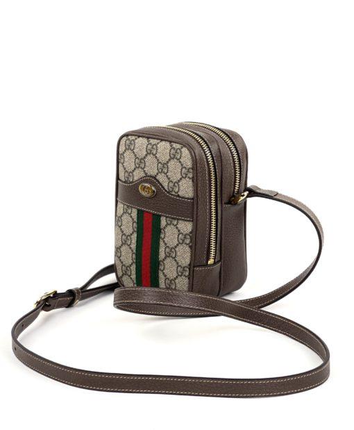 Gucci GG Supreme Monogram Web Mini Ophidia Double Zip Crossbody Bag