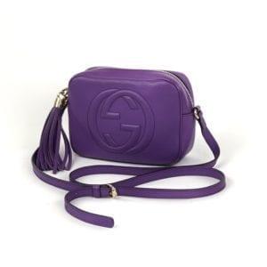Gucci Soho Disco Purple Leather Crossbody Bag