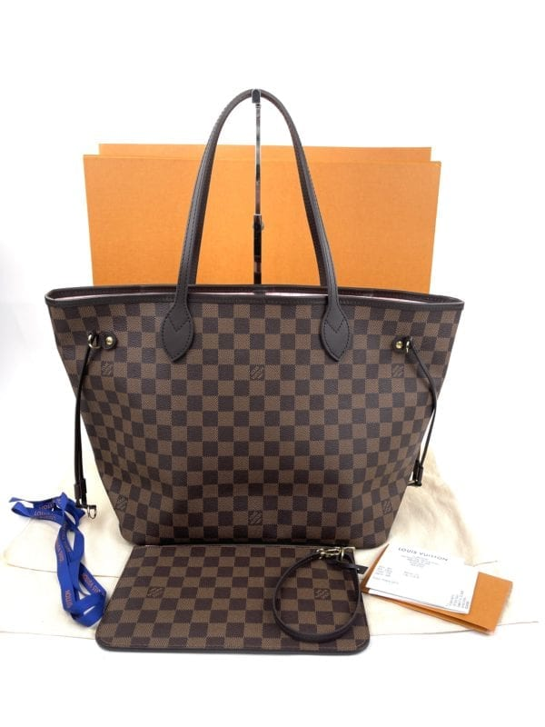 Louis Vuitton Damier Ebene Neverfull MM Rose Ballerine Full Set