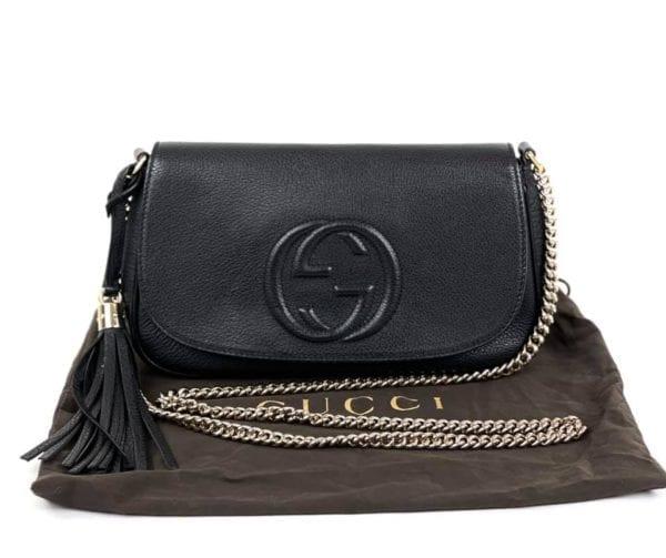 Gucci Black Pebbled Leather Soho Chain Flap Crossbody