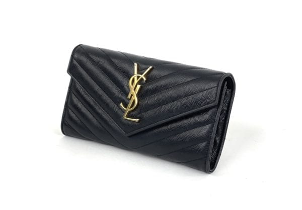 YSL Logo Quilted-Leather Continental Wallet