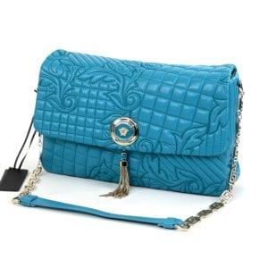 Versace Vanitas Medea Quilted Barocco Bag Turquoise